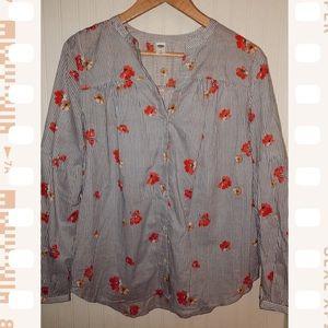 Pinstripe Floral Button Up Blouse
